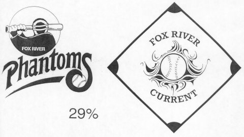 Two logos and nicknames that were considered for Appleton's professional baseball team before the team moved to Fox Cities Stadium.