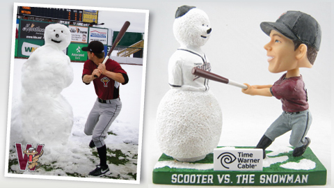 The photograph (L) from the snowed out 2010 Opening Day has been turned into an All Fan Bobblehead Giveaway (R) for Opening Day, 2011.