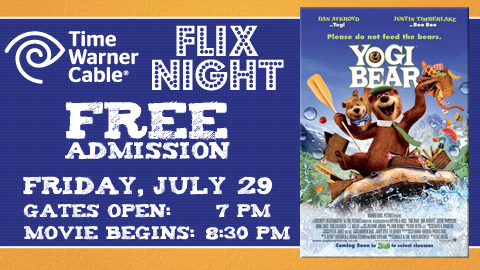 "A free showing of ""Yogi Bear"" on July 29 at Time Warner Cable Field."
