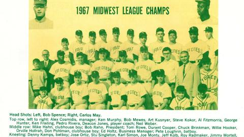 The 1967 Midwest League Champions Appleton Foxes.