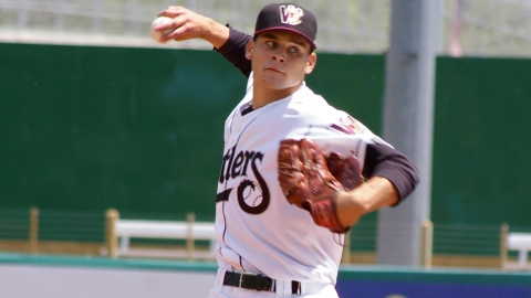 Nick Bucci in action for the Timber Rattlers in 2010.