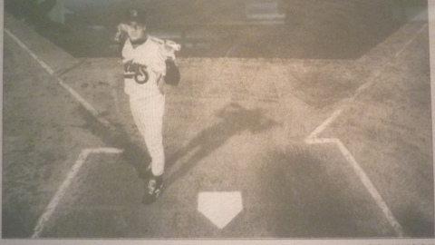 Claudio Liverziani at home plate of Time Warner Cable Field for a Post-Crescent story in 1997.