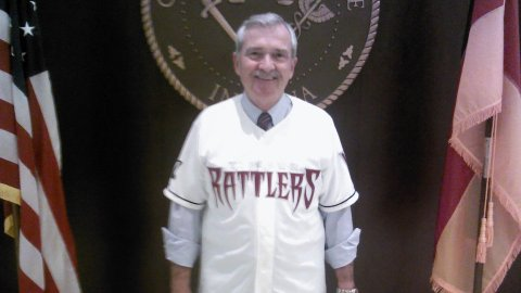 Fort Wayne Mayor Tom Henry wears a Timber Rattlers Jersey as part of losing his wager on the 2013 MWL Championship Series with Grand Chute Chairman Dave Schowalter.